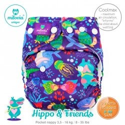 Pañal rellenable Milovia Hippo y Friends Coolmax. EDICIÓN LIMITADA