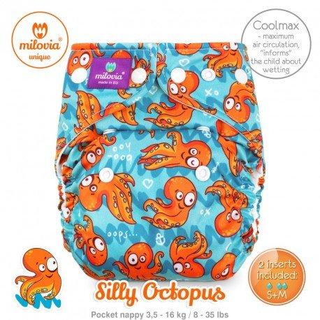 Pañal rellenable Milovia Silly Octopus Coolmax. EDICIÓN LIMITADA