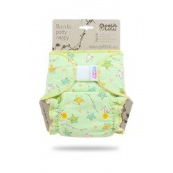 Pañal ajustado Petit Lulu (Velcro) - Little Stars (yellow-green)