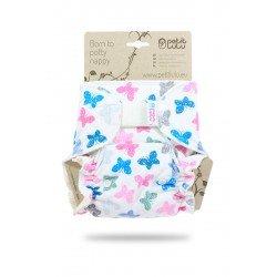 Pañal ajustado Petit Lulu (Velcro) - Colourful Butterflies