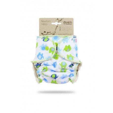 Pañal ajustado Petit Lulu Recien Nacido (Snaps) - Little Elephants (blue-green)