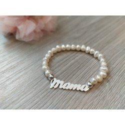 Pulsera perlas y plata Mamá