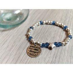 Pulsera Estrella con bolas de plata y cristal azul con medalla y colgante