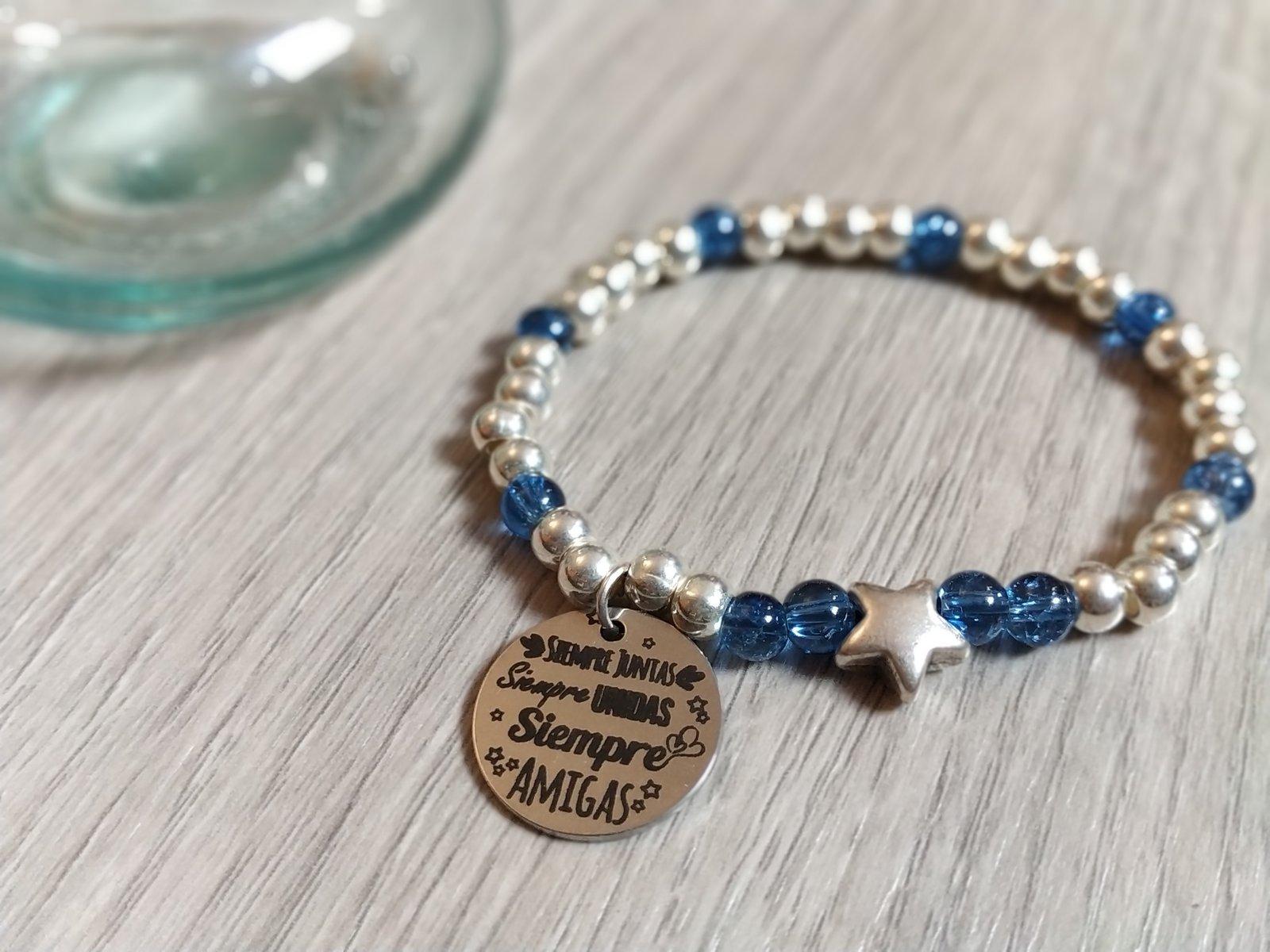 454897b70c97 Pulsera Estrella con bolas de plata y cristal azul con medalla y colgante