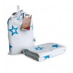 Muselina bambú 120x120+bolsa Estrellas azul - XKKO