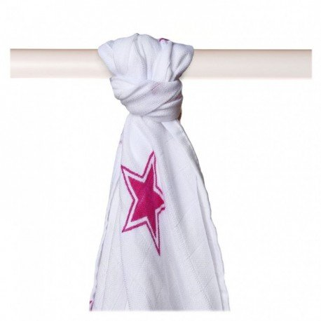 Muselina bambú 90x100. Estrellas rosa. XKKO