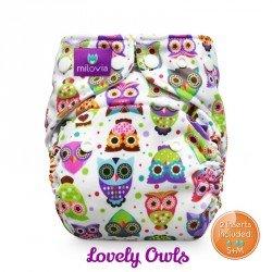 Pañal rellenable Milovia Lovely Owls Micropolar