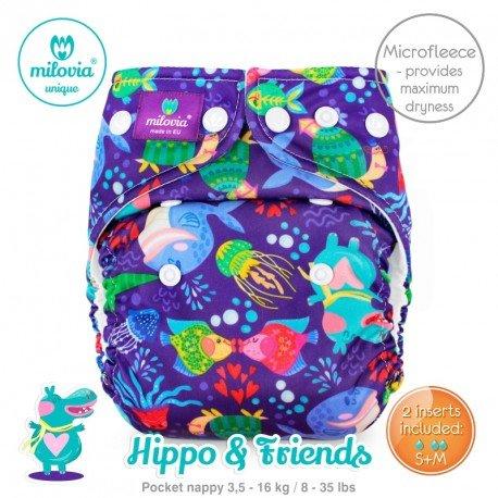 Pañal rellenable Milovia Hippo y Friends Micropolar. EDICIÓN LIMITADA