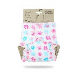 Pañal ajustado Petit Lulu (Snaps) - Little Elephants (turquoise-pink)