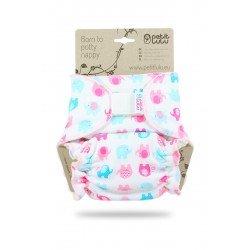 Pañal ajustado Petit Lulu (Velcro) - Little elephants (turquoise-pink)