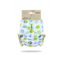 Pañal ajustado Petit Lulu Recien Nacido (Snaps) - Little Elephants (blue-green)