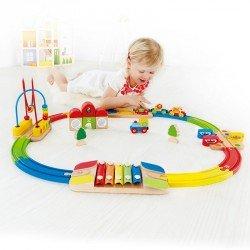 Tren de madera arco iris Hape