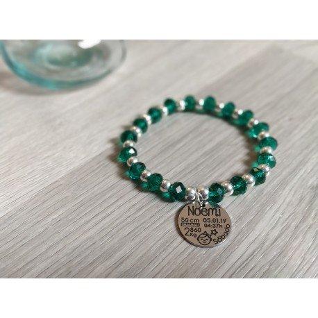 Pulsera bolas de plata y cristales verdes