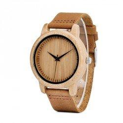 Reloj de madera de bambú y cuero para Hombre Grabado personalizado