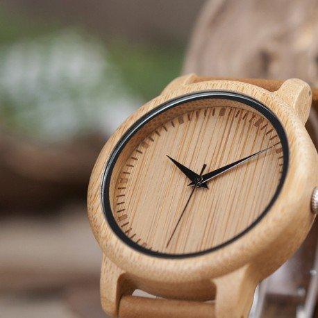 Reloj de madera de bambú y cuero para Mujer Grabado personalizado