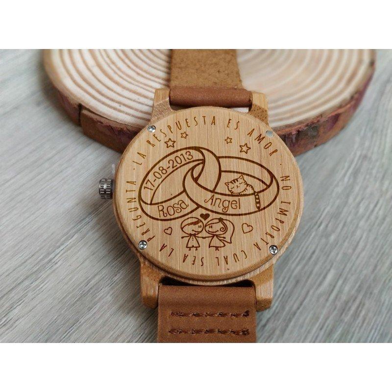 San Francisco Garantía de calidad 100% 2019 original Reloj de madera de bambú y cuero para Mujer Grabado ...