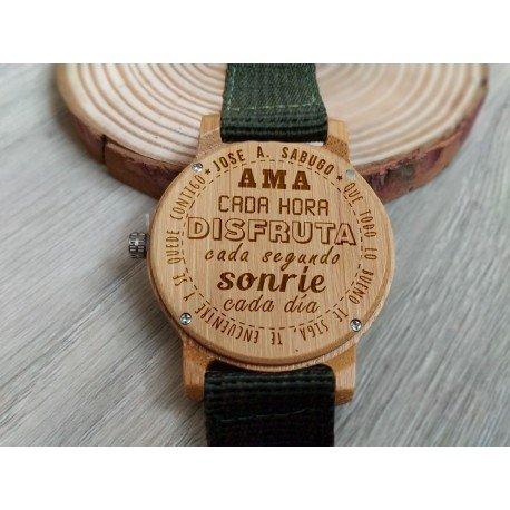 Reloj de madera de bambú y nylon verde personalizado