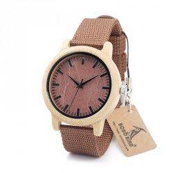 Reloj de madera de bambú y nylon marrón personalizado