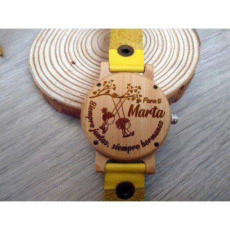 Reloj de madera de bambú y cuero correa larga Amarillo para Mujer