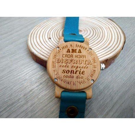 Reloj de madera de bambú y cuero correa larga Azul para Mujer