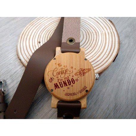 Reloj de madera de bambú y cuero correa larga Marrón para Mujer
