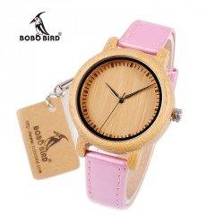 Reloj de madera de bambú y correa PU Rosa para mujer grabado personalizado