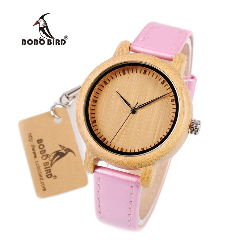 Reloj De Madera De Bambú Y Correa Pu Rosa Para Mujer Grabado