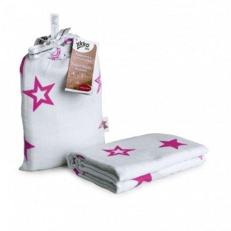 Muselina bambú 120x120+bolsa Estrellas rosa. XKKO