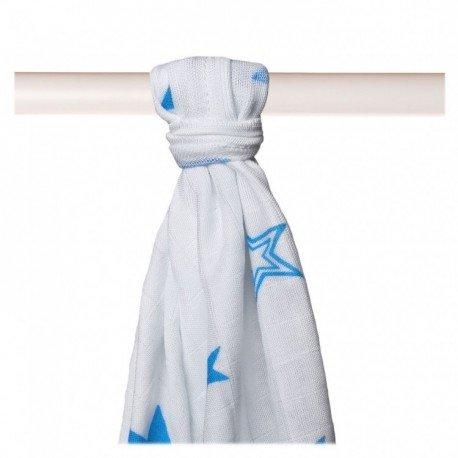 Muselina bambú 90x100. Estrellas azul. XKKO