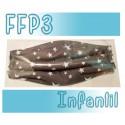 Mascarillas infantiles Reutilizables Triple Capa FFP3 - Estrellas gris