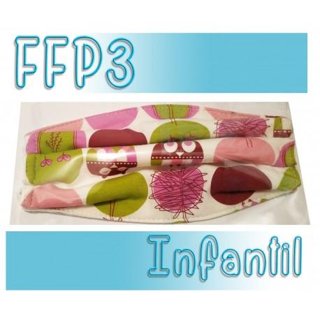 Mascarillas infantiles Reutilizables Triple Capa FFP3 - Circulos morada y verde