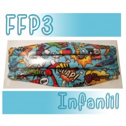 Mascarillas infantiles Reutilizables Triple Capa FFP3 - Comic azul