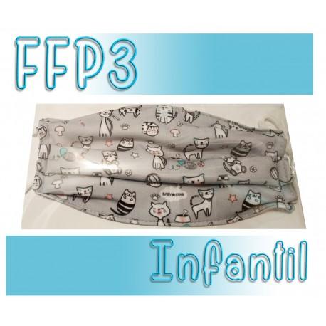 Mascarillas infantiles Reutilizables Triple Capa FFP3 - Gatos Gris