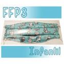 Mascarillas infantiles Reutilizables Triple Capa FFP3 - Gatos verde