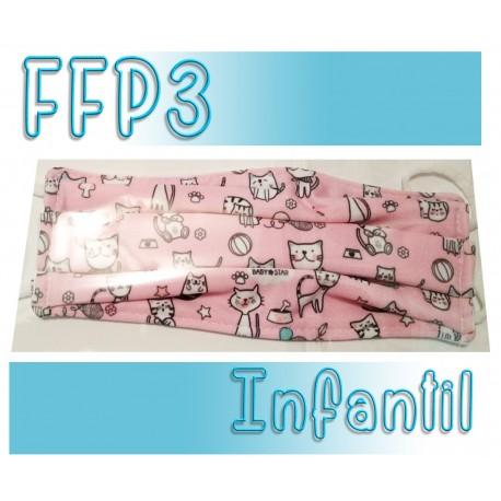 Mascarillas infantiles Reutilizables Triple Capa FFP3 - Gatos Rosa