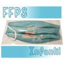 Mascarillas infantiles Reutilizables Triple Capa FFP3 - Verde Buho
