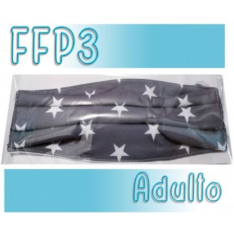 Mascarillas Adulto Reutilizables Triple Capa FFP3 - Estrellas Gris
