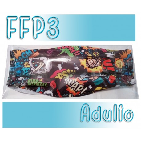 Mascarillas Adulto Reutilizables Triple Capa FFP3 - Comic Negro
