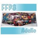 Mascarillas Adulto Reutilizables Triple Capa FFP3 - Comic Negro