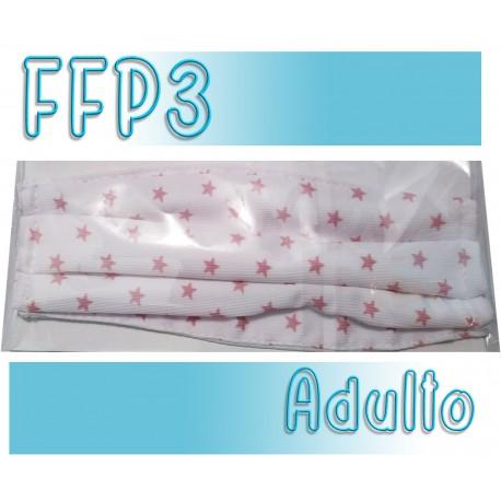Mascarillas Adulto Reutilizables Triple Capa FFP3 - Blanca Estrellas