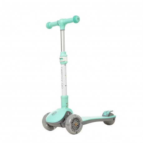 Patinete 3 ruedas infantil con LEDS plegable Twenty Go Easy Mint