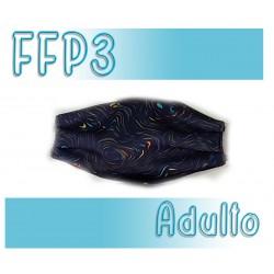 Mascarillas Adulto Reutilizables Triple Capa FFP3 - Azul Lineas
