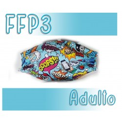 Mascarillas Adulto Reutilizables Triple Capa FFP3 - Comic Azul