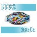 Mascarillas Adulto Reutilizables Triple Capa FFP3 - Comic Azul