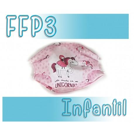 Mascarillas infantiles Reutilizables Triple Capa FFP3 - Unicornio