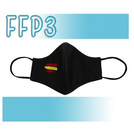 Mascarillas Adulto Reutilizables Triple Capa FFP3 - Pico de Pato Bandera España Negra