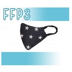 Mascarillas Reutilizables Triple Capa FFP3 - Pico de Pato Estrellas Negro