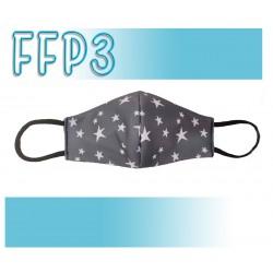 Mascarillas Reutilizables Triple Capa FFP3 - Pico de Pato Estrellas Gris