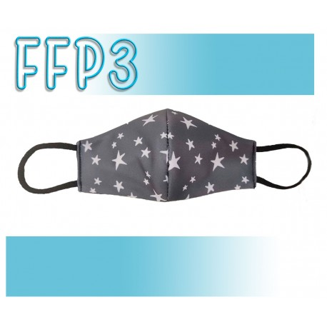 Mascarillas Adulto Reutilizables Triple Capa FFP3 - Pico de Pato Estrellas Gris