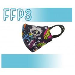 Mascarillas Reutilizables Triple Capa FFP3 - Pico de Pato Comic Negro